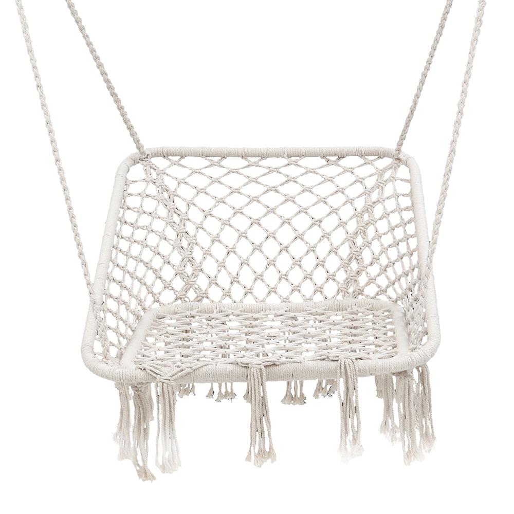 Gardeon Camping Hammock Chair Outdoor Hanging Rope Portable Swing Hammocks Cream Gardeningtoolsonline