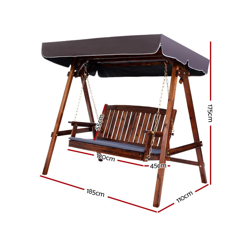 Heavy Duty Counter Stools, Gardeon Wooden Swing Chair Garden Bench Canopy 3 Seater Outdoor Furniture Gardeningtoolsonline
